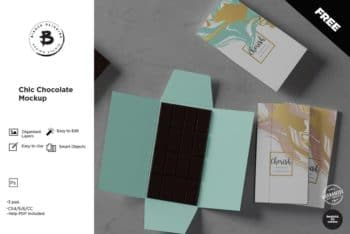 Chocolate Bar Packaging PSD Mockup – Available with Photorealistic Appearance
