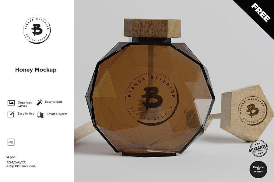 unique designed honey bottle psd template