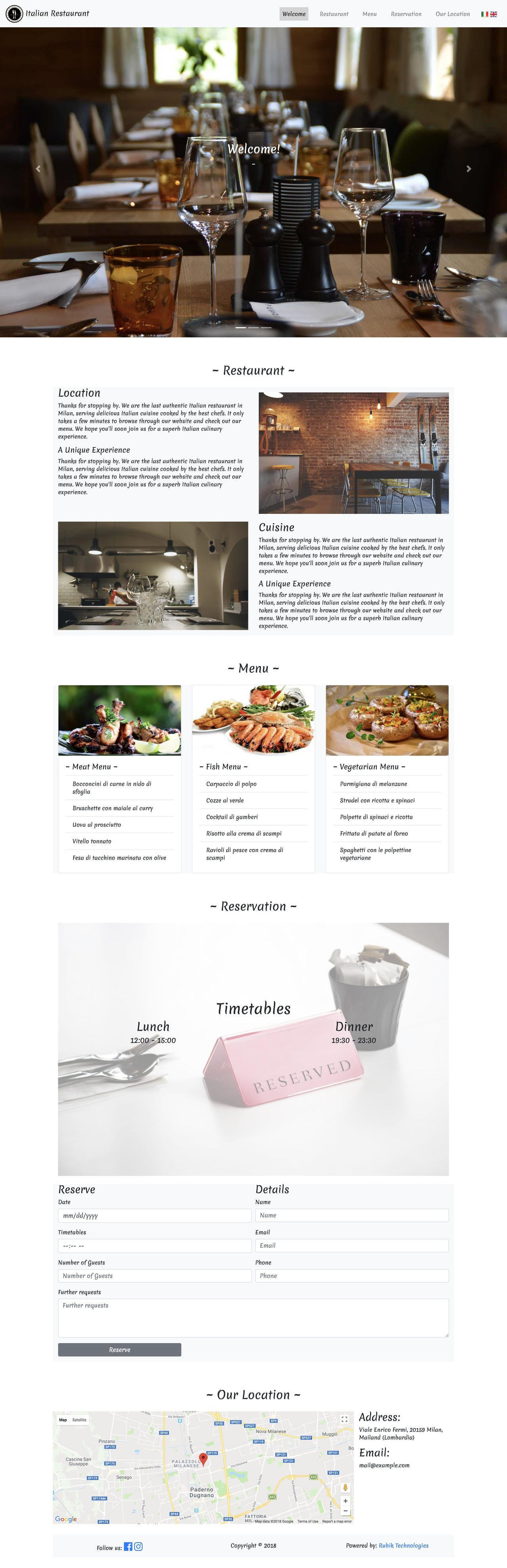 Ristorante - restaurant one page HTML template