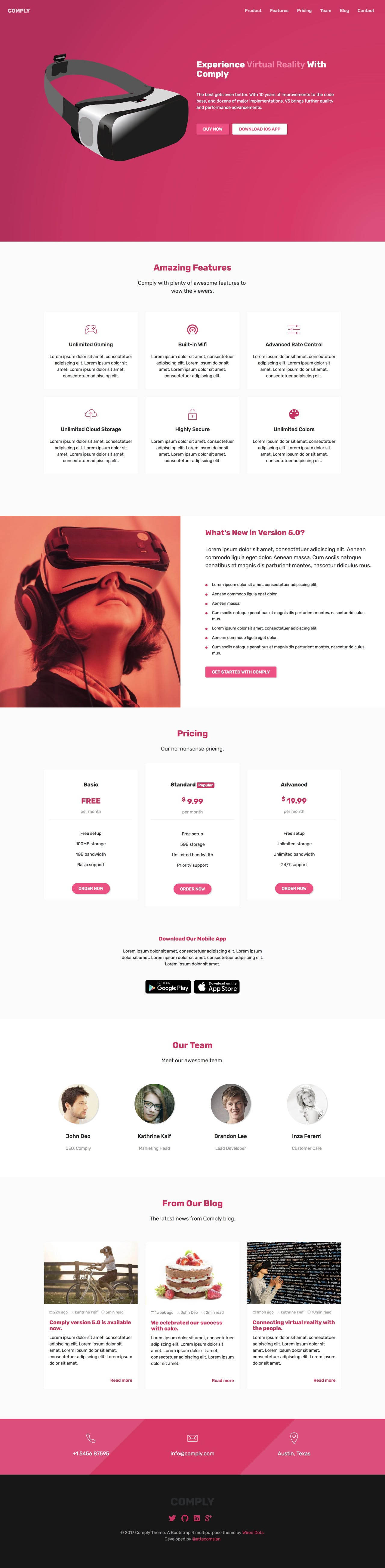 Comply - landing page HTML template