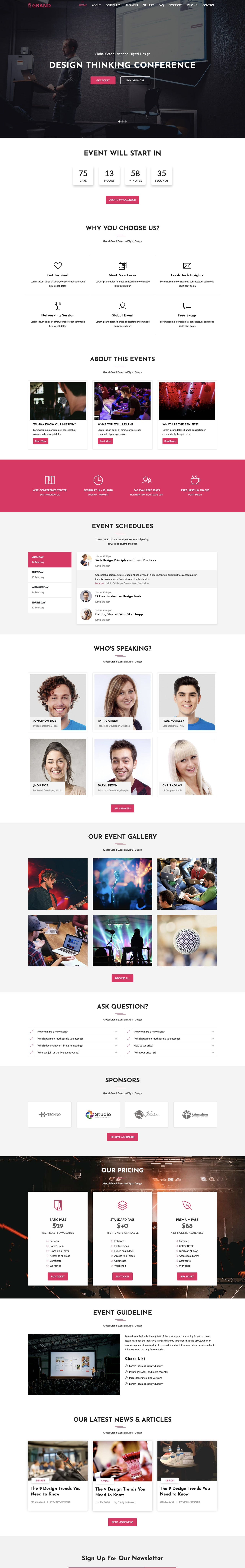 Grand - event/conference landing page HTML template