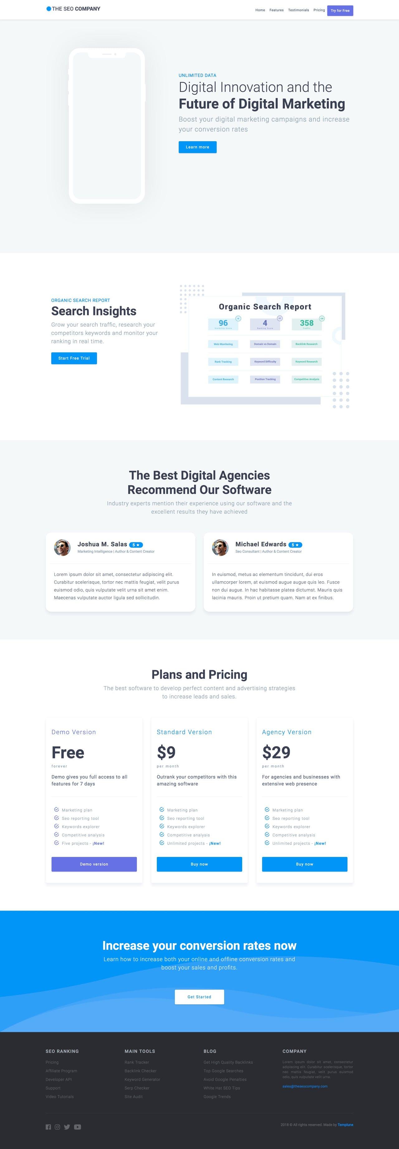 SEO company HTML landing page template