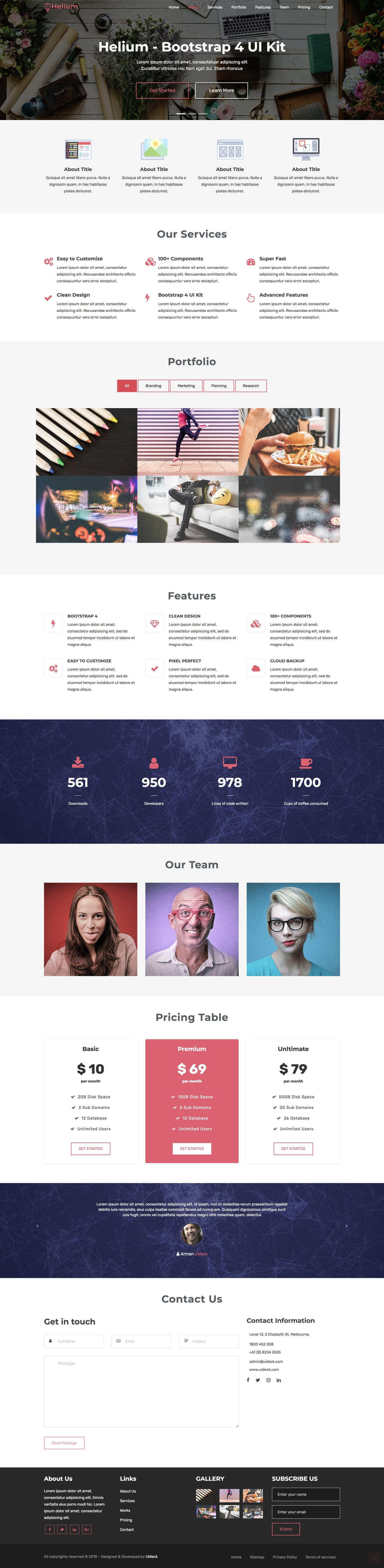 One page portfolio HTML template