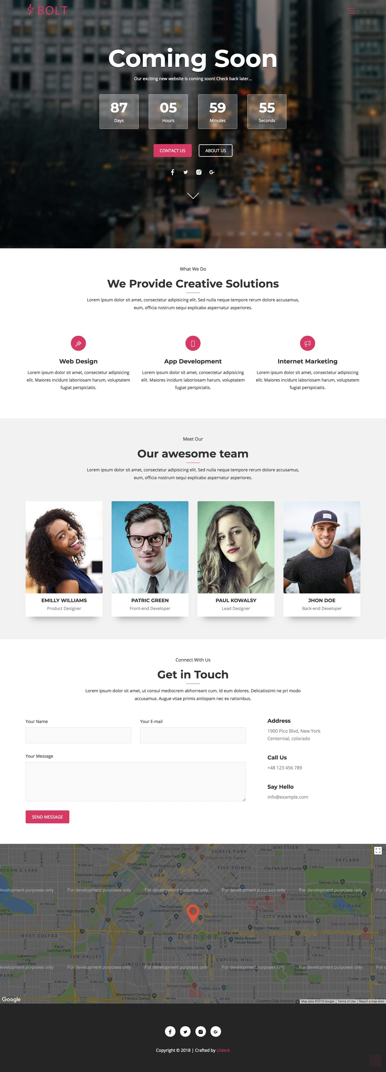 Launching soon HTML template (one page)