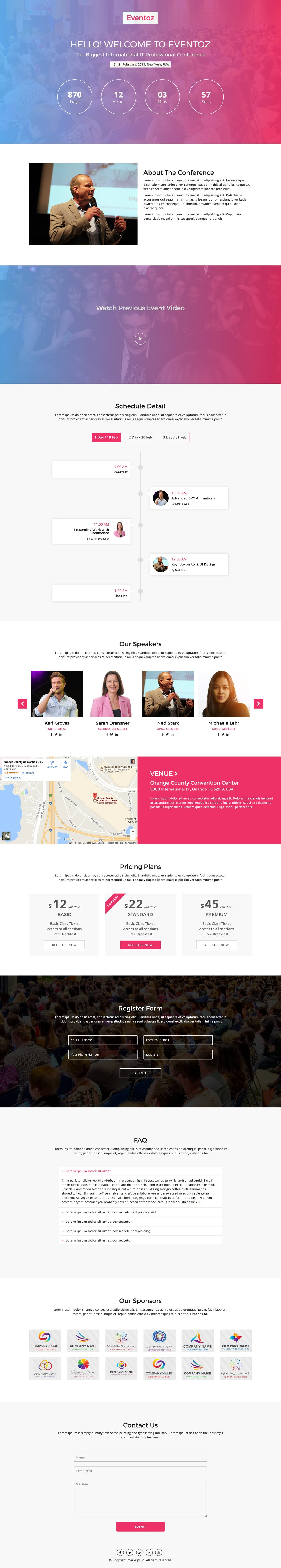Eventoz - free event HTML template