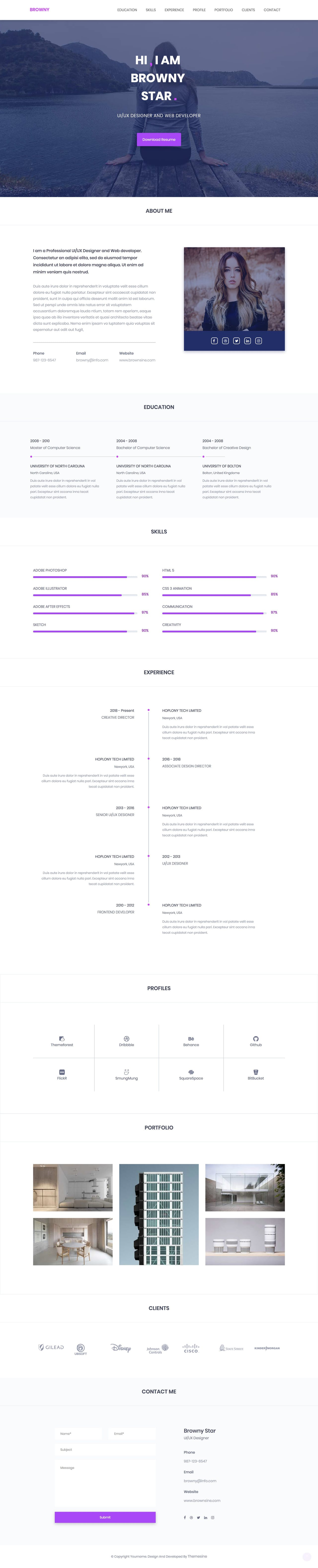 Browny CV-Style One Page HTML Template