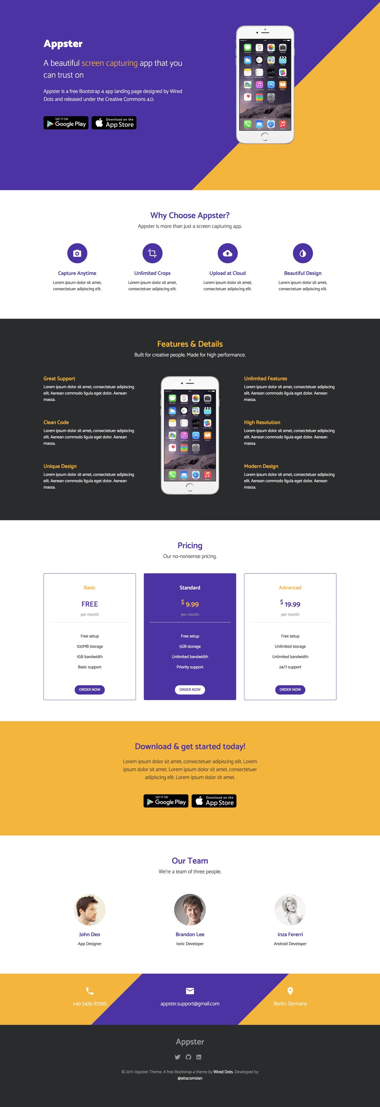 Appster - App Landing Page HTML Template
