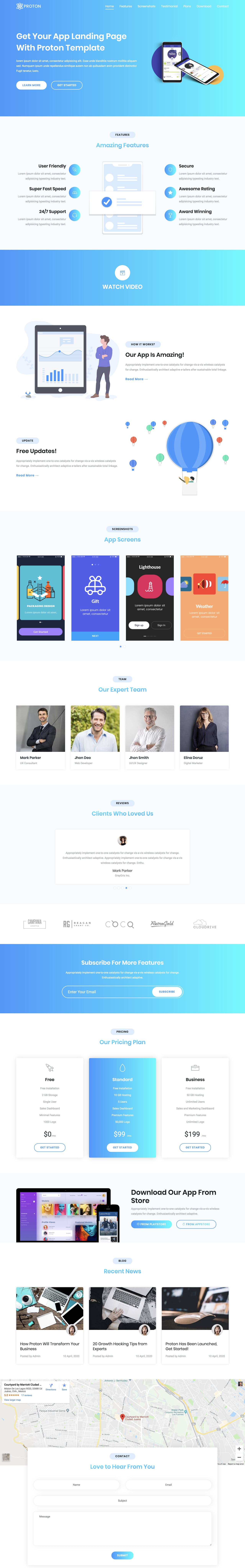 One Page HTML Landing Page for an App | DesignHooks