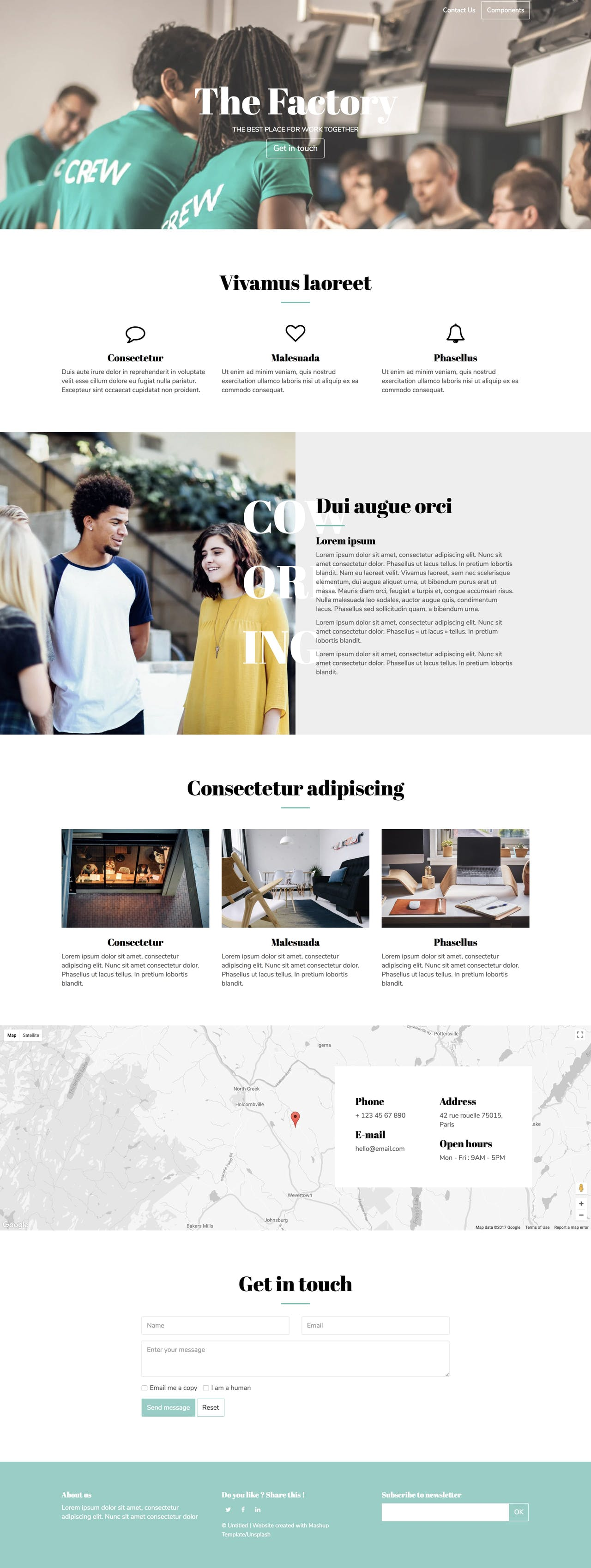 Factory - coworking landing page HTML template