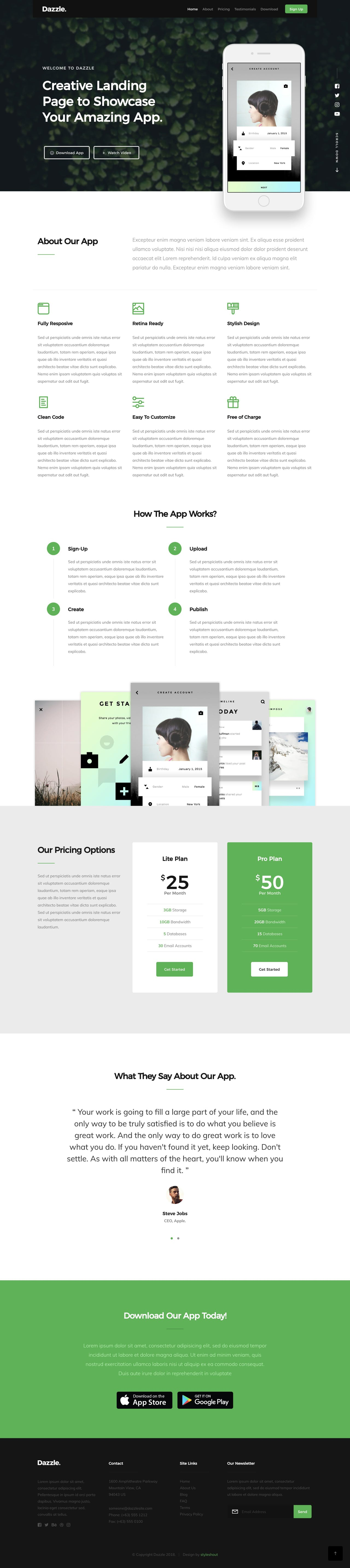 App launch HTML template