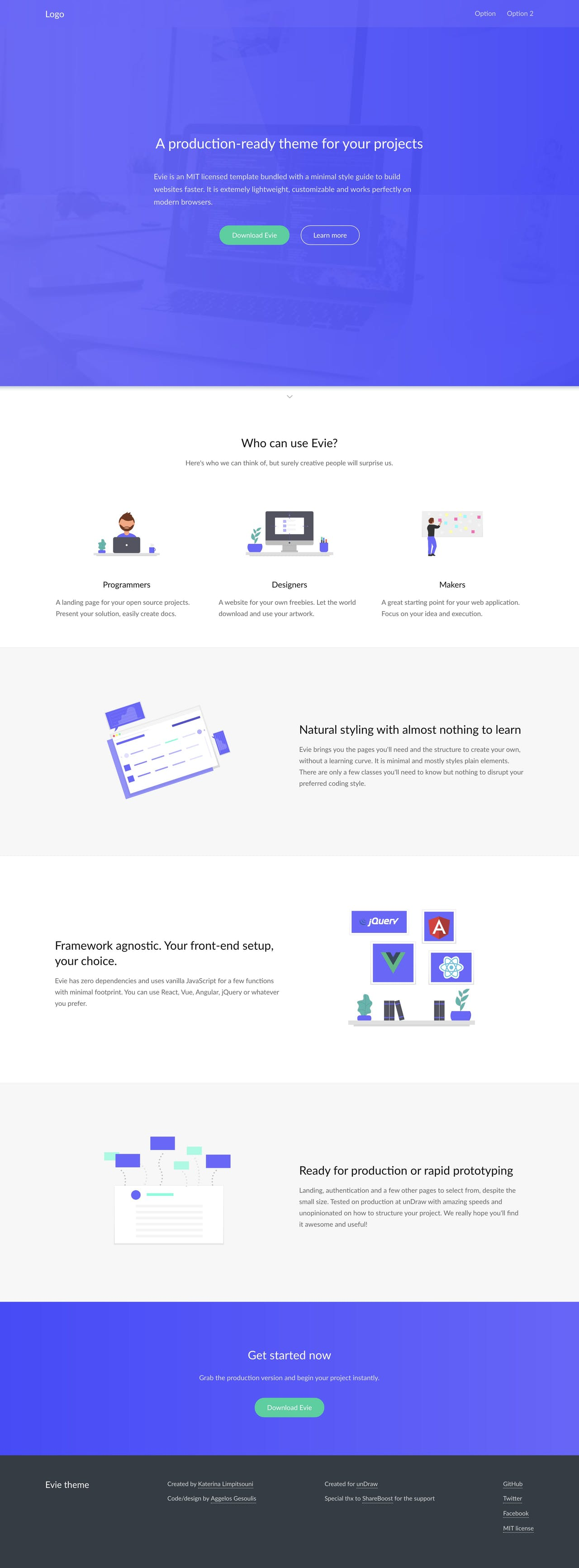 Evie - landing page HTML template