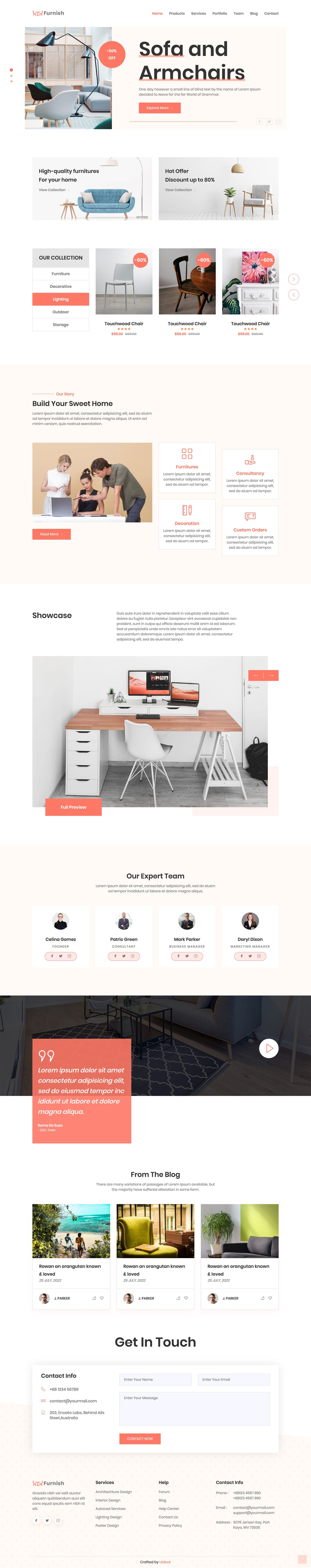 one page HTML template for furniture business