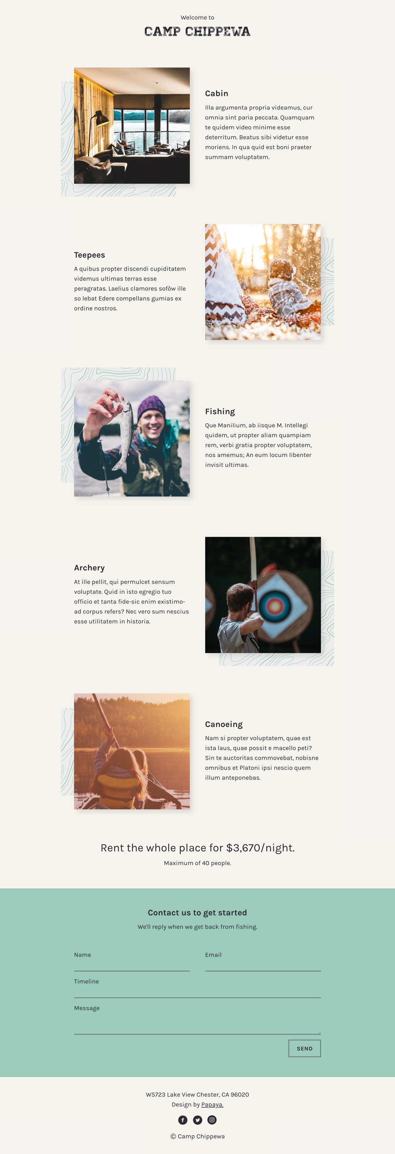 Landing Page HTML Template for a Camp or Tour