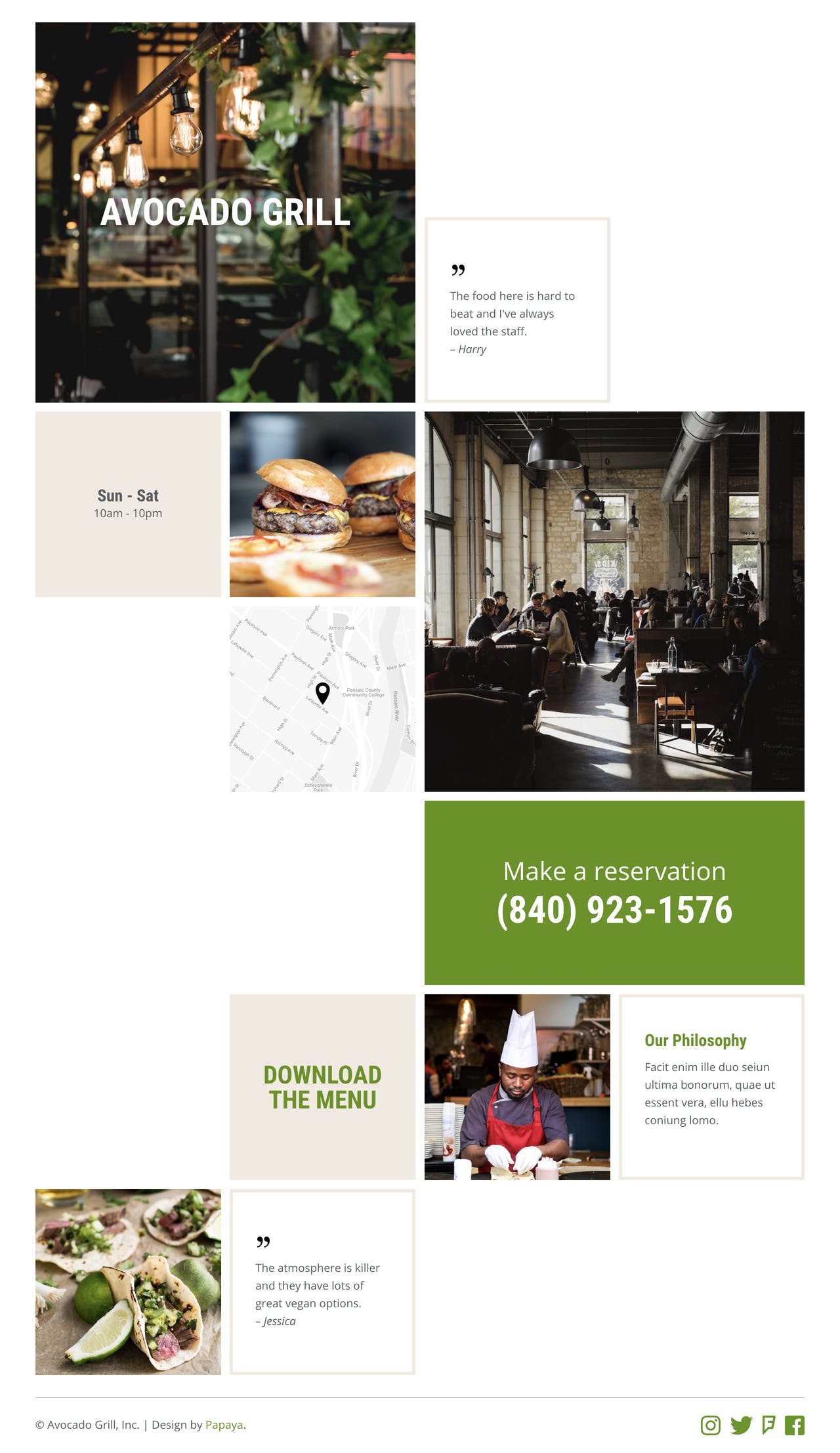 Landing page HTML template for restaurant