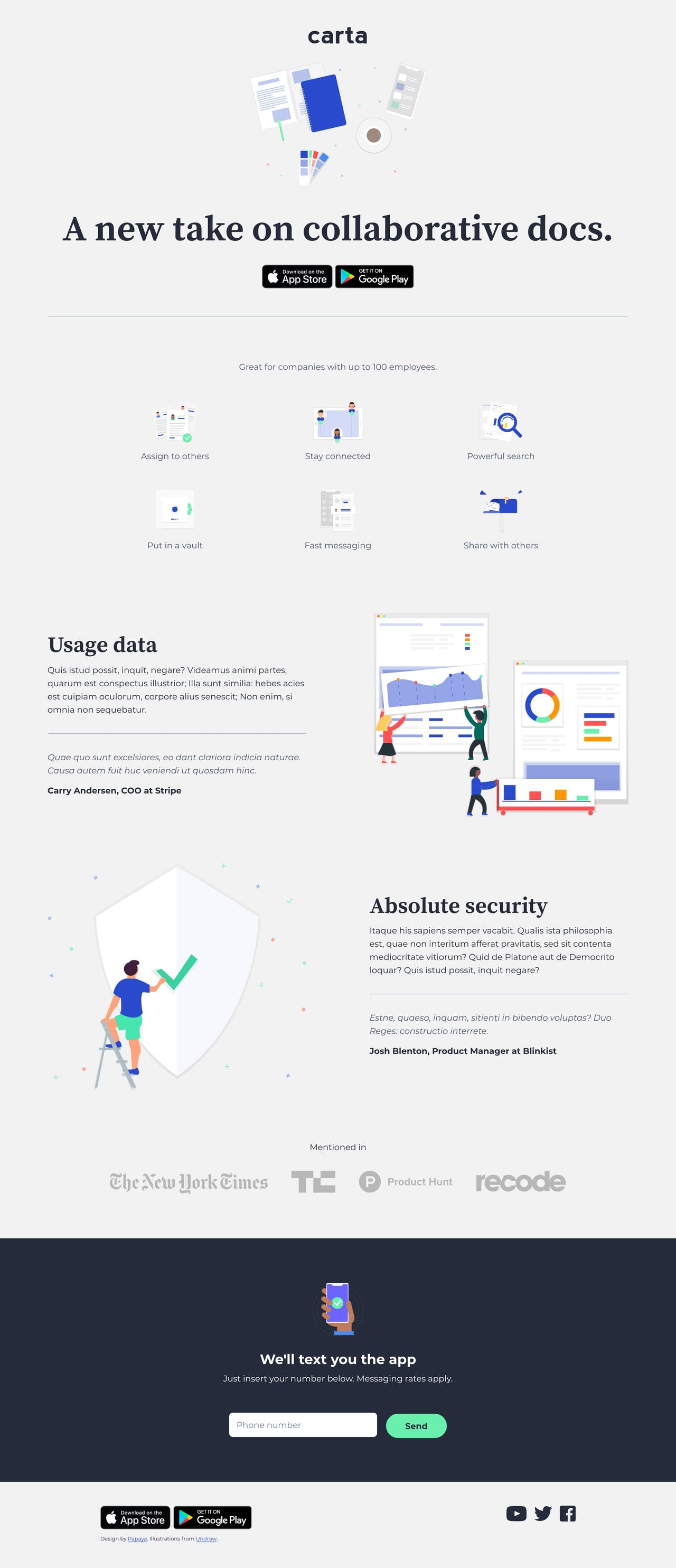 One page HTML template for an app or SaaS Service