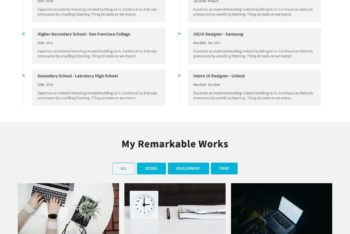 One Page Resume HTML Template Download