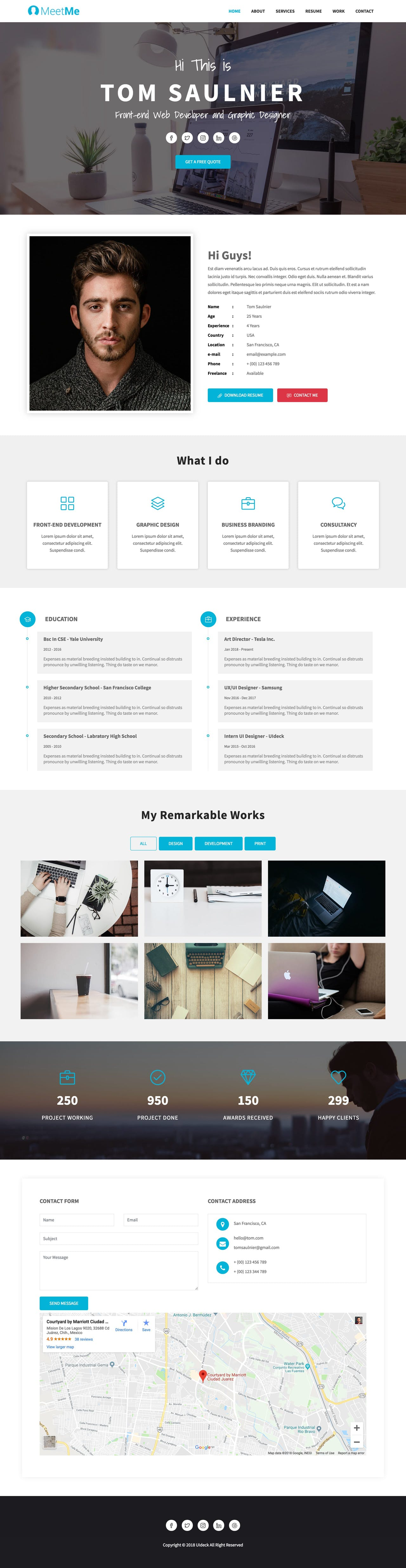 One page resume HTML template