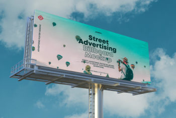 Street Billboard PSD Mockup for Displaying Billboard Advertising Design in Style