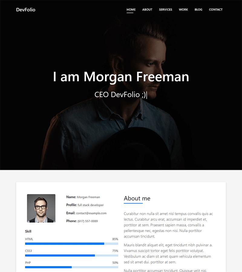 DevFolio – Bootstrap Portfolio HTML Template