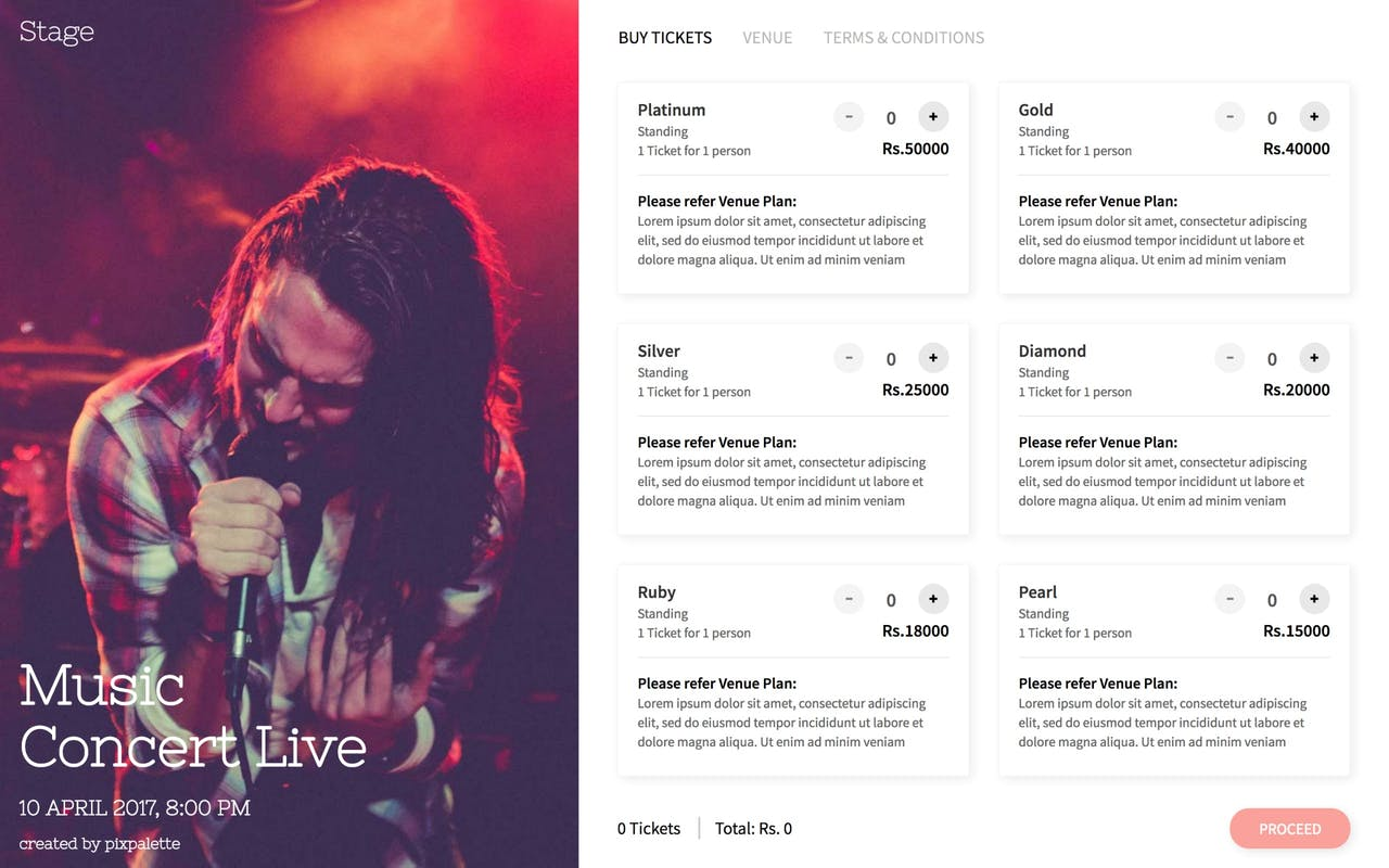 Stage - Event Ticket Selling HTML Template