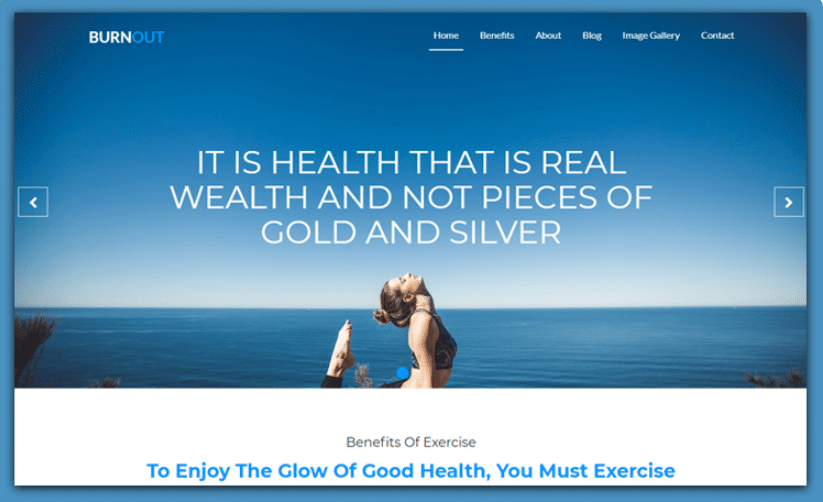 Burnout - free fitness website template