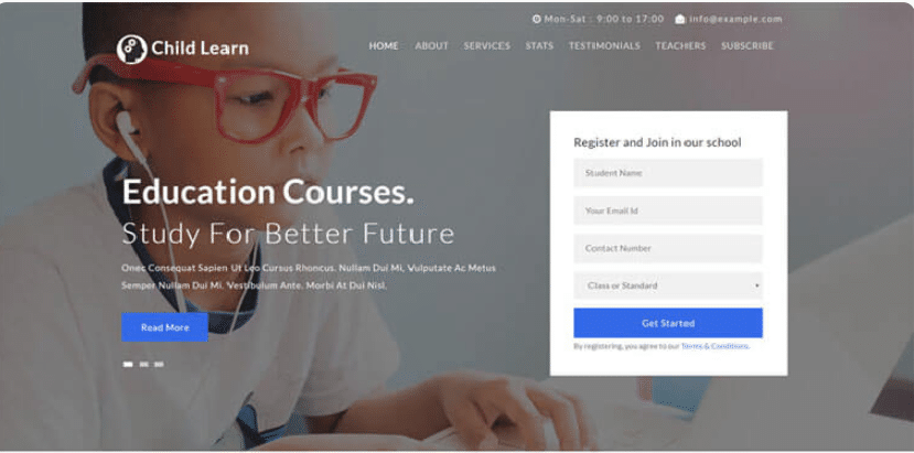 Child Learn - free education website template