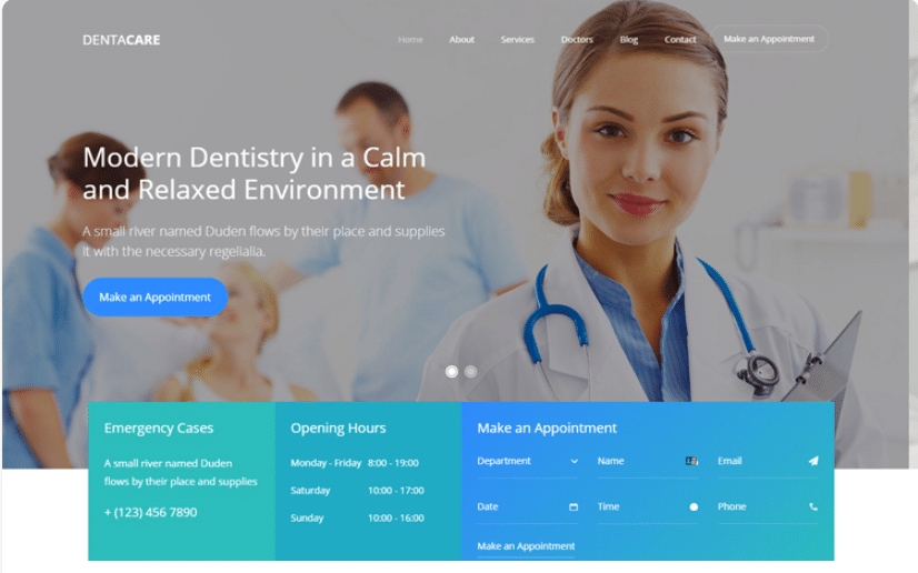 Dentacare - free dental website template