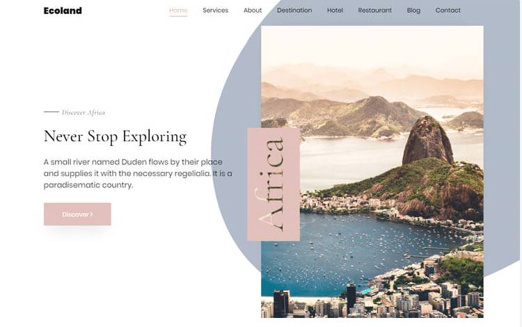 Ecoland - free travel agency website template