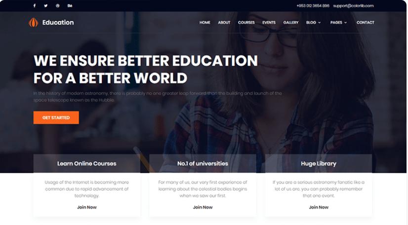 Free Education Website Template from designhooks.com