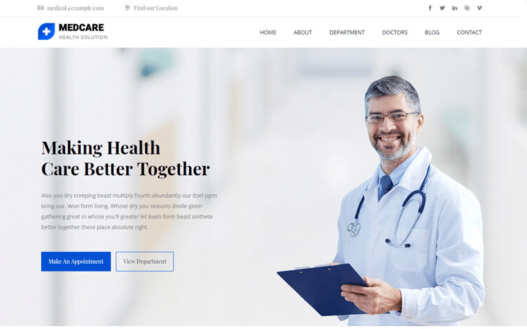 Medcare - free medical website template