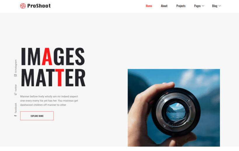 Proshoot - free photography website template