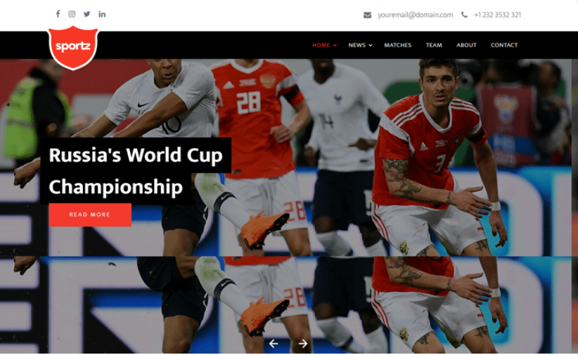 Sportz - free sports website template