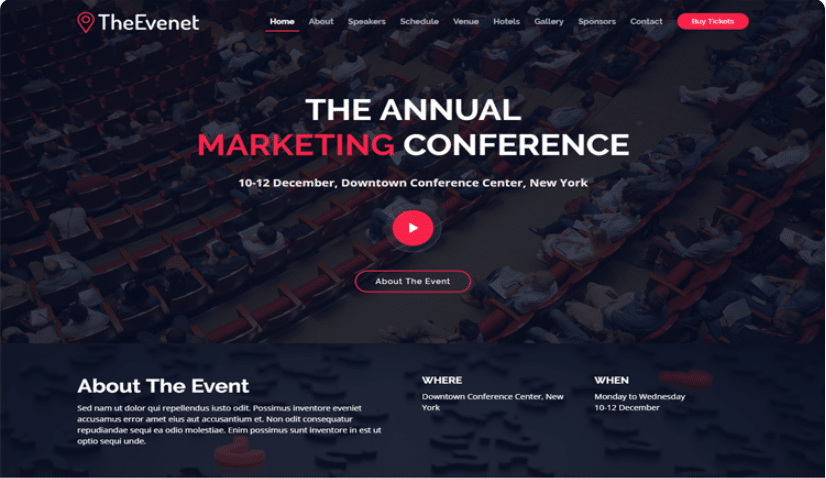 TheEvent - free event website template