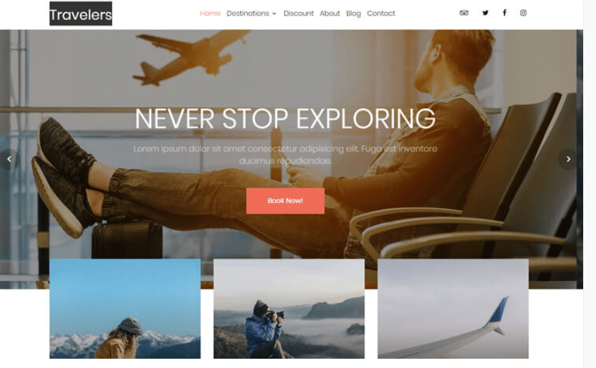 Travelers - free travel agency website template