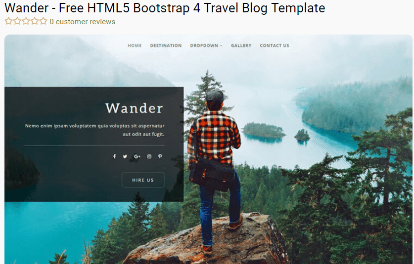 Wander - free travel blog template