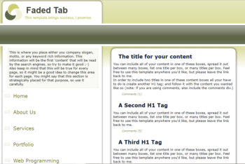Faded Tab – A Simple HTML Template for Websites