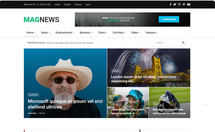 Magnews2 free news website template