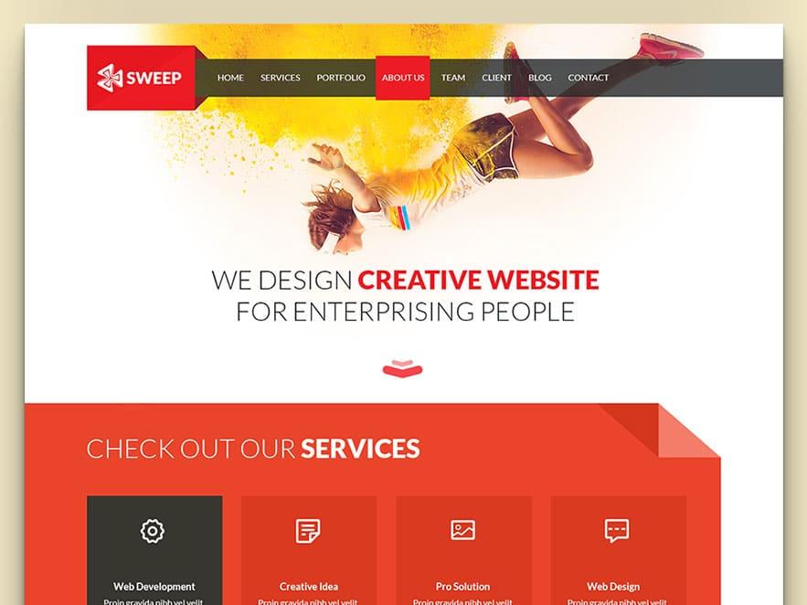 sweep free business website template download designhooks. Black Bedroom Furniture Sets. Home Design Ideas
