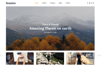 Sensive – Free Travel Blog Website Template Download