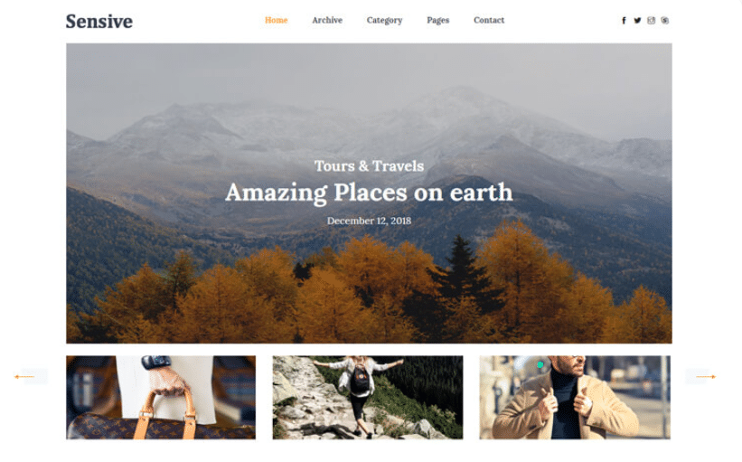 Sensive - free travel blog website template