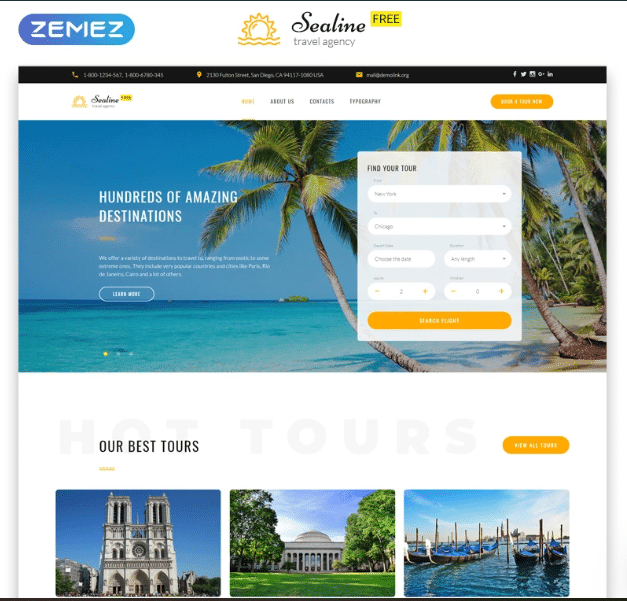 Free Responsive HTML Template Download for Travel Site
