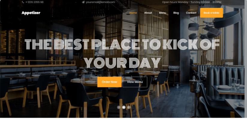 Appetizer - free restaurant website template