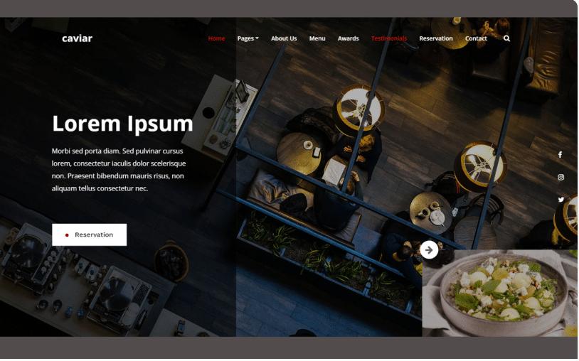 Caviar - Free HTML5 Bootstrap 4 Restaurant Website Template