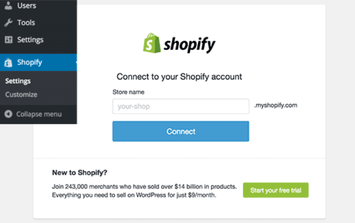Connecting your website with Shopify