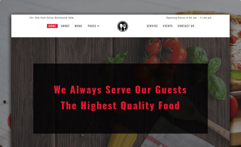 Foodque - free restaurant website template