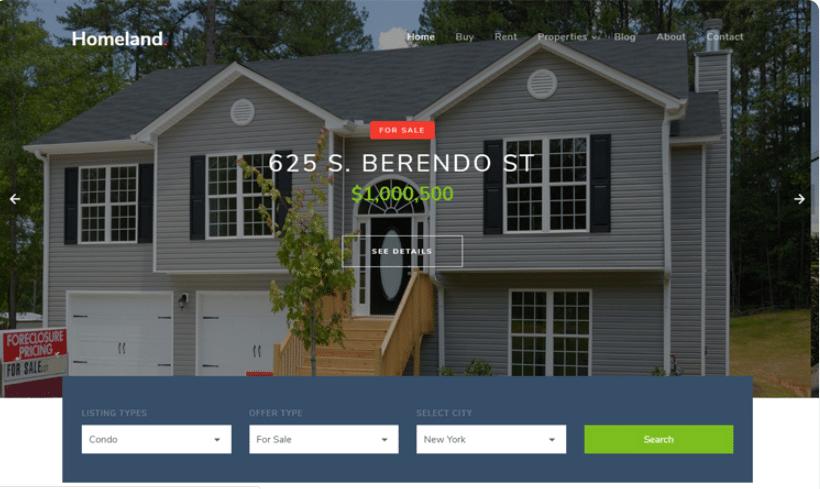 Homeland - real estate website template