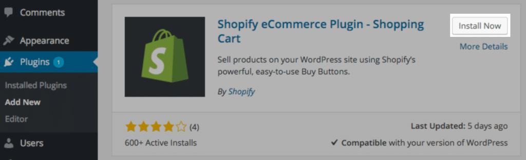 Installing Shopify e-commerce plugin