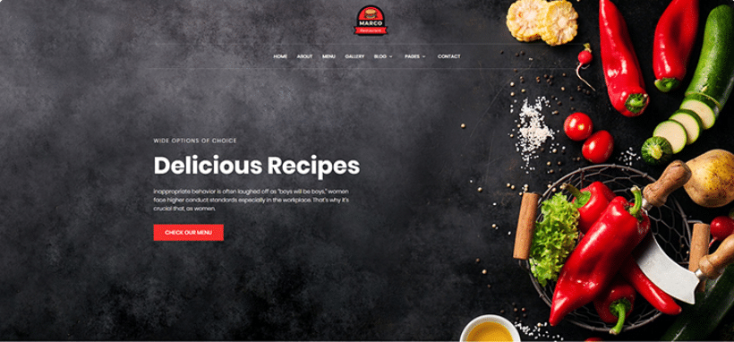 Marco - free responsive restaurant template