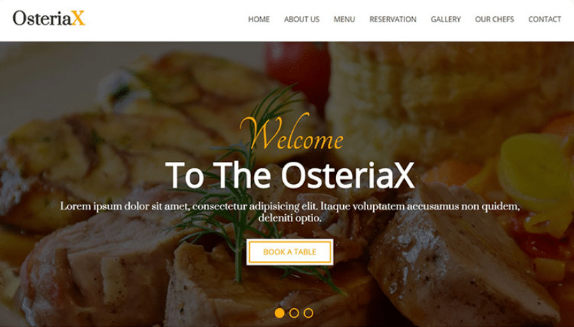 Osteriax - Free Restaurant Template