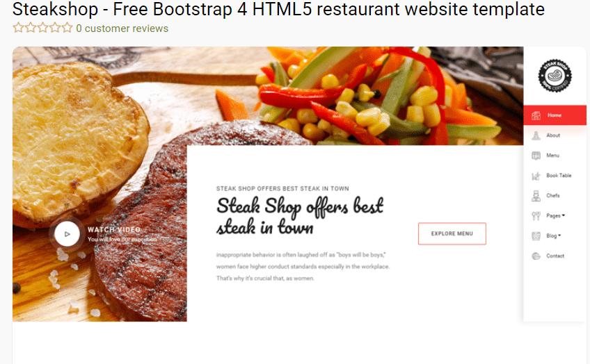 Steakshop - free restaurant website template